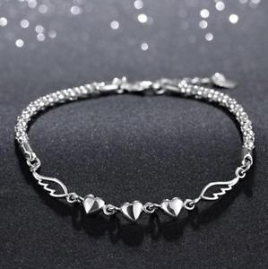 Angel Wings Heart Bracelet 925 Sterling Silver Plated Bangle Womens Girls Love