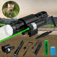 Tactical Green Dot Laser Sight hunting Light Combo For Rifle 20mm  Remote Switch