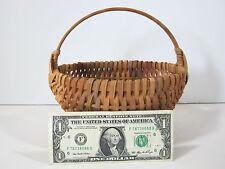 "Miniature Woven Splint Basket Signed 8"""