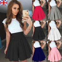 Womens Elastic Waist Mini Skater Skirt Stretch Flared Lady Short Pleated Dress