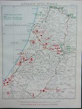 1918 WW1 MAP EGYPTIAN EXPEDITIONARY FORCE ~ ADVANCE INTO JUDEA 21 NOV 1917 GAZA