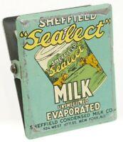 Vintage SHEFFIELD SEALECT EVAPORATED MILK TIN LITHO CLIP