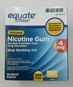 New 220 Piece Equate Nicotine Gum Original Flavor 4mg  Exp 5/22 Uncoated