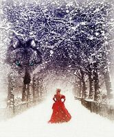 """perfact 24x36 oil painting handpainted on canvas""""a girl walking in snow"""" NO513"""
