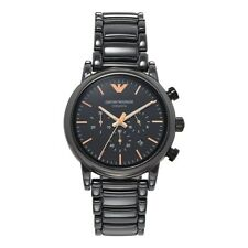 ARMANI MENS CHRONOGRAPH CERAMIC WATCH AR1509 BLACK DIAL GENUINE BNIB WITH COA