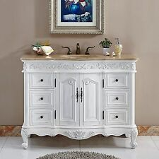 48-inch Bathroom Travertine Top Sink Vanity White Oak Finish Cabinet  0152TR