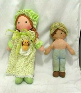 "Vintage Holly Hobbie 13"" Cloth Fabric Doll Amy With Puppy Toy & 10"" Doll"