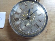 DUNFERMLINE  ANTIQUE SILVER FUSEE POCKET WATCH SILVER DIAL APPLIED GOLD NUMERALS