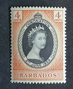 BARBADOS Coronation Elizabeth II. 1953 QEII. FINE Hinged