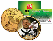REGGIE BUSH Colorized Louisiana Statehood US Quarter 24K Gold Plated Coin ROOKIE