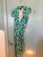David Lawrence teal grey and white wrap around dress in size 10