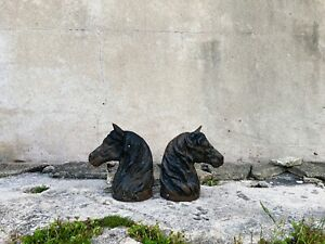 Pair of Antique Cast Iron Horse Heads - Great Decor