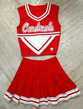 Real High School Varsity Cheer Red White Silver Cardinals Cheerleading Uniform