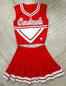 Real High School Varsity Cheer Red White Silver Cardinals Cheerleading Uniform