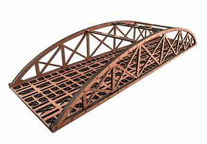 WWS Double Track Hi-Detail Red MDF Bowstring Bridge 450mm – OO/HO Model Railway