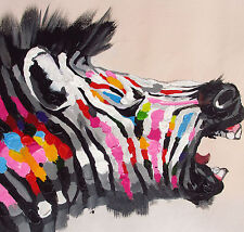 ZEBRA PRINT RAINBOW COLOUR  ON CANVAS  LARGE 50cm x 50cm LARGE