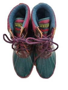 Woodstock Thermolite  Women Size 8 Green Brown Lace Up Rubber Rain Bootie