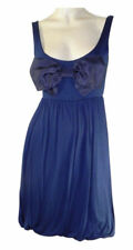ASOS Dark Blue Stretchy Strappy Dress with large Bow on Front Size 8