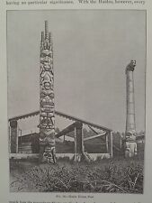 Haida Indian Totem Posts 1886 Original Print
