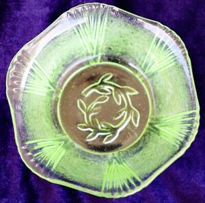 Vintage Green Depression Glass  Small Pin Bowl Starburst Cut Glass Pattern
