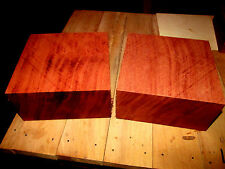 TWO KILN DRIED EXOTIC BUBINGA BOWL BLANKS LATHE TURNING BLOCK LUMBER 6 X 6 X 3""