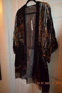Chicos Travelers Collection Velvet Burnout Kimona Jacket S/M Dark Mulberry w/tag