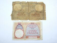 1931 Morocco 20 Francs & 1941 Morocco 5 Francs Bank Note