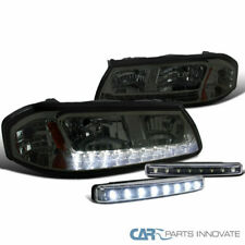 00-05 Chevy Impala Smoke LED Tinted Headlights+Black 8-LED Fog Bumper Lights