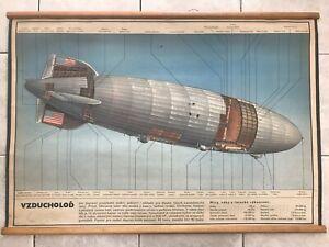 Original vintage school chart of Airship, Dirigible USA 1937 Hindenburg