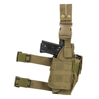NEW Tactical Leg Thigh Drop Down Pistol w Light or Laser Holster COYOTE TAN