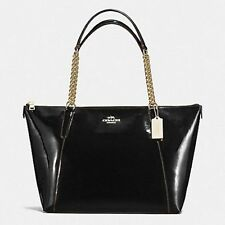 NWT COACH Ava Chain Luxurious Patent Leather Shoulder Bag Tote F57308- Black