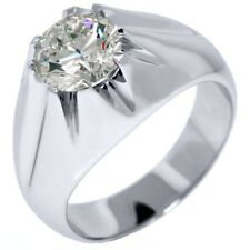 MENS CERTIFIED SOLITAIRE BRILLIANT ROUND CUT DIAMOND RING WEDDING BAND PLATINUM