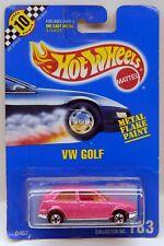 Hot Wheels Volkswagen Golf Pink Glitter Paint VW Vintage Blue Card #183 (ERROR)