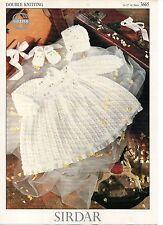 "Sirdar 3665 Vintage Baby Knitting Pattern Dress Bonnet 15-22"" 0 - 24 months DK"