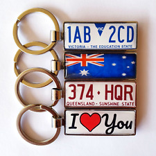 Two-sided Keychain Keyring with License Plate Number & Vehicle Logo, Text, Image