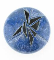 Studiokeramik Objekt Gefäß blau Kristallglasur linsenförmig signiert modern