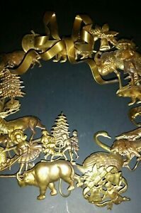 Vtg Dresden Petites Brass Holiday Christmas Easter Holloween Thanksgiving Wreath