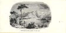 Stampa antica LAGO DI COMO veduta panoramica 1885 Old antique print