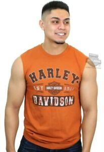 Harley-Davidson® ¤ Mens Garage Style B&S Orange Sleeveless Muscle T-Shirt Sm