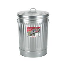 Steel 31-Gallon Silver/Galvanized Metal Trash Can with Lid Garbage Storage