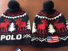 ==NEW RALPH LAUREN POLO SKI SNOW HAT/CAP/BEANIE LAMBS WOOL BLACK FLAG $98 1 SIZE