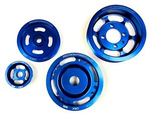 OBX Blue Overdrive + Underdrive Crank Pulley Set For 1990 To 1998 Eagle Talon