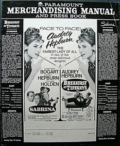 AUDREY HEPBURN: (BREAKFAST AT TIFFANY'S & SABRINA) ORIG,MOVIE PRESSBOOK