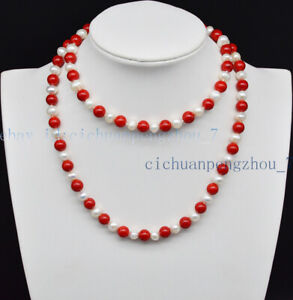 Beautiful 8mm Red Coral & 7-8mm Real White Freshwater Pearl Necklace 18-100'' AA
