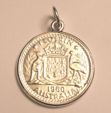 Sterling Silver Australian 1960  Florin Coin Pendant