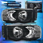 For 02-05 Dodge Ram 1500 2500 3500 Black Clear Headlights Headlamps Left Right