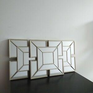 Set of 3 Art Deco Style Mirrors Plastic Frame Living room Hallway Mirrors 25 X25