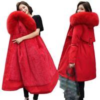Women's Mid Length Snow Parka Faux Fur Lined Collar Hooded Warm Outwear Winter L