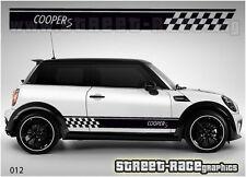 Mini Cooper S de carreras lado rayas 012 Vinilo Stickers Calcomanías gráficos