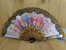 """Handheld FOLDING FAN Fabric Lace 10"""" with Ring FLORAL Black Plastic Handle"""